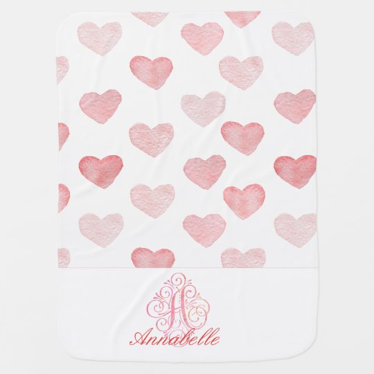 Monogram pink hearts baby blanket