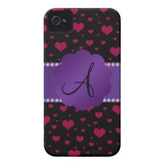 Monogram pink hearts iPhone 4 case