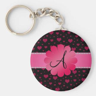 MOnogram pink hearts pink flower Basic Round Button Key Ring