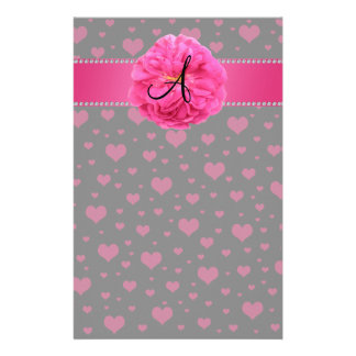 MOnogram pink hearts pink peony Stationery Design