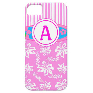 Monogram Pink Hibiscis and Surfboard iPhone 5 Case