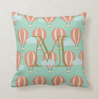 Monogram Pink Hot Air Balloons Motifs Cushion