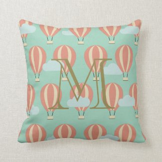 Monogram Pink Hot Air Balloons Motifs