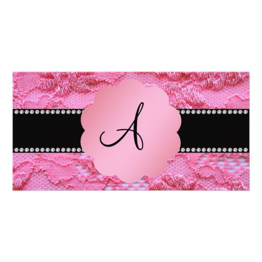 Monogram pink lace customized photo card