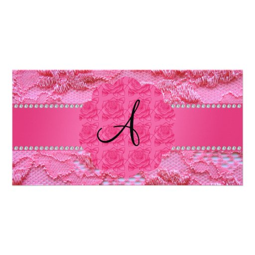 Monogram pink lace personalized photo card
