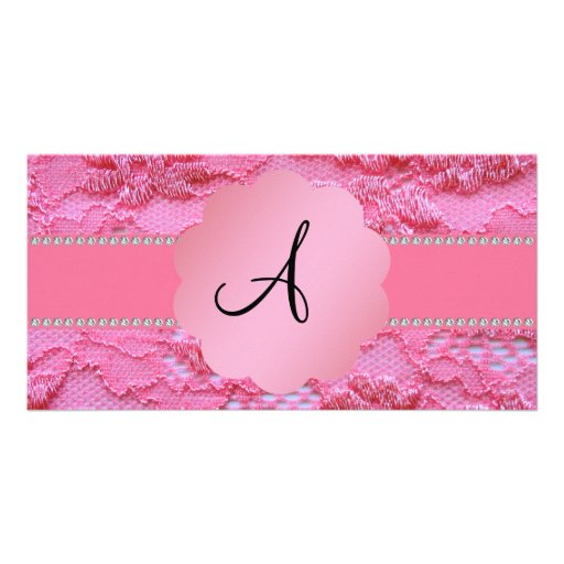 Monogram pink lace photo card template