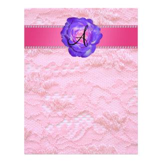 Monogram pink lace purple rose 21.5 cm x 28 cm flyer