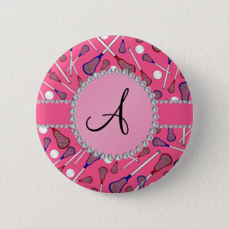 Monogram pink lacrosse pattern 6 cm round badge