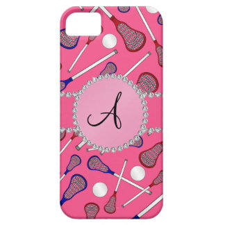 Monogram pink lacrosse pattern iPhone 5 case