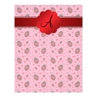 Monogram pink ladybugs hearts 21.5 cm x 28 cm flyer