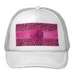Monogram pink leopard pattern hat