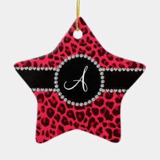 Monogram pink leopard print circle christmas ornament