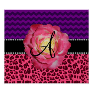 Monogram pink leopard purple chevrons print