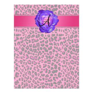 Monogram pink leopard purple rose flyers