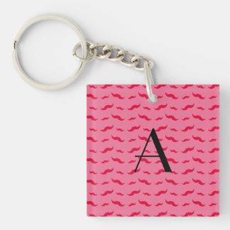 Monogram pink mustache pattern acrylic keychains