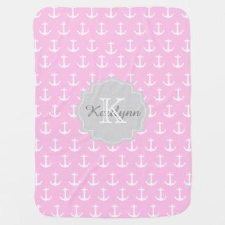 Monogram Pink Nautical Anchor Pattern Baby Blanket