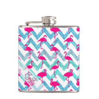 Monogram Pink Neon Flamingos Teal Glitter Chevron Hip Flask