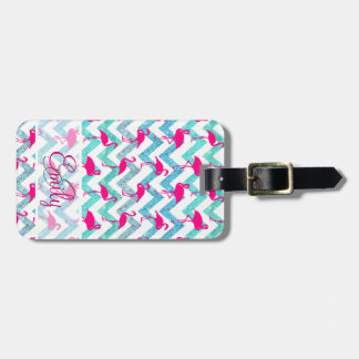 Monogram Pink Neon Flamingos Teal Glitter Chevron Luggage Tag