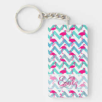 Monogram Pink Neon Flamingos Teal Glitter Chevron Single-Sided Rectangular Acrylic Key Ring