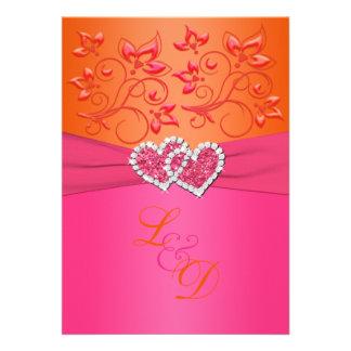 Monogram Pink Orange Floral Joined Hearts Invite