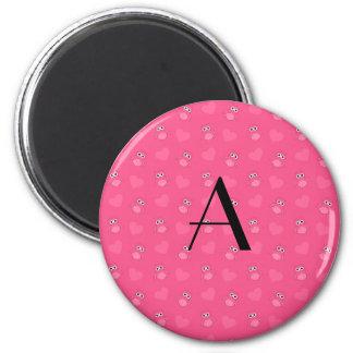 Monogram pink owls and hearts fridge magnets