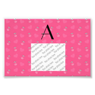 Monogram pink owls and hearts art photo