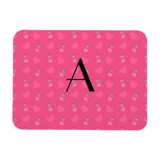 Monogram pink owls and hearts rectangle magnets