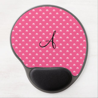 Monogram pink pearl polka dots gel mouse pad