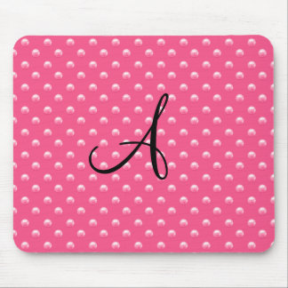Monogram pink pearl polka dots mouse pad