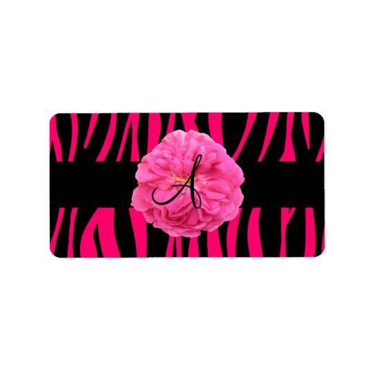 Monogram pink peony zebra stripes address label