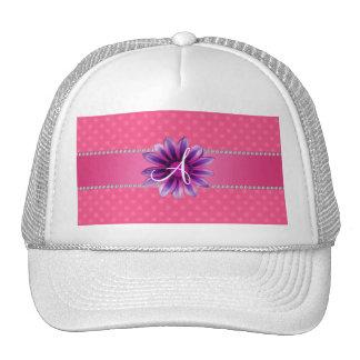Monogram pink polka dots purple daisy mesh hat