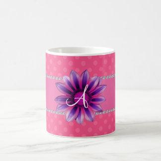 Monogram pink polka dots purple daisy coffee mug
