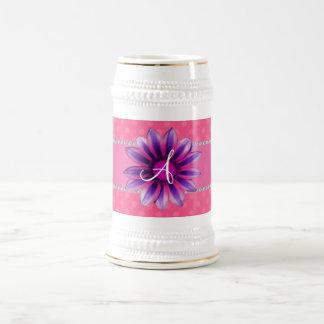 Monogram pink polka dots purple daisy mug