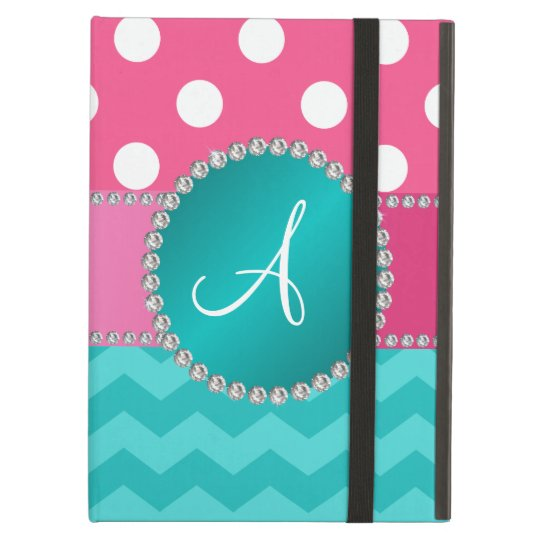 Monogram pink polka dots turquoise chevron sparkle iPad