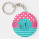 Monogram pink polka dots turquoise chevrons
