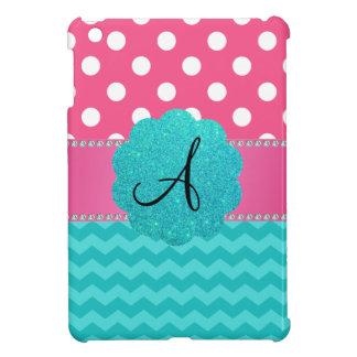 Monogram pink polka dots turquoise chevrons iPad mini case