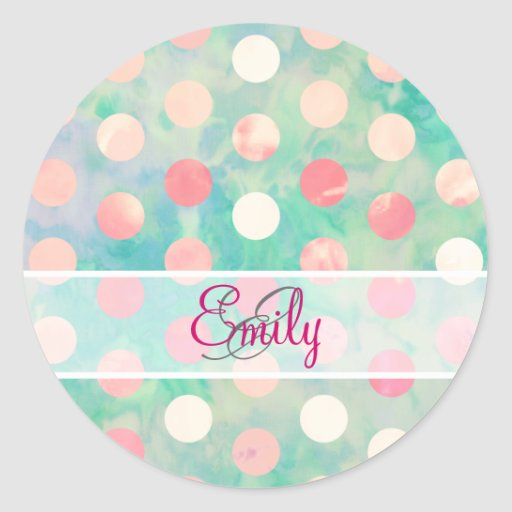 Monogram Pink Polka Dots Watercolor Teal Pattern Round Stickers