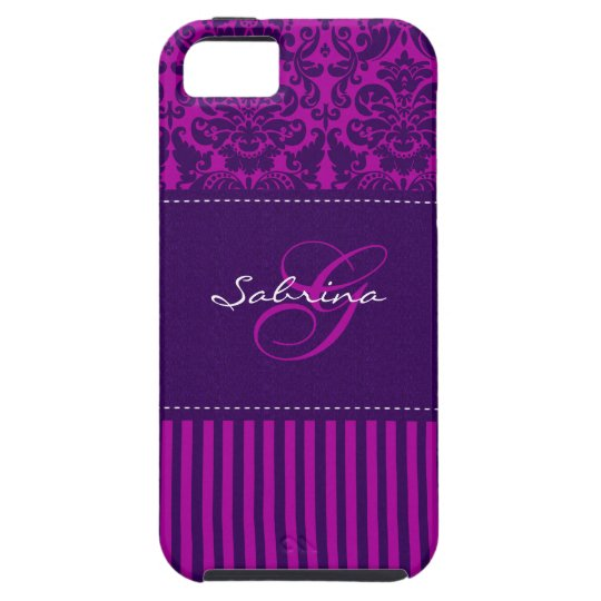 Monogram Pink, Purple Damask Stripe iPhone 5 Vibe iPhone 5 Case