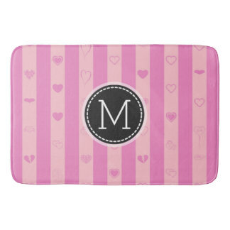 Monogram Pink Purple Stripes Modern Heart Pattern Bath Mat
