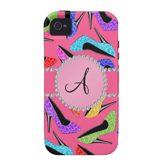 Monogram pink rainbow leopard high heels iPhone 4/4S covers