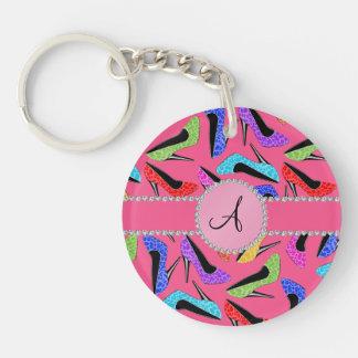 Monogram pink rainbow leopard high heels Double-Sided round acrylic key ring