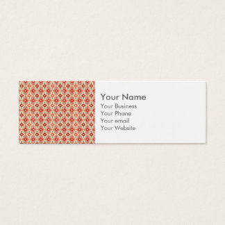 Monogram Pink Red Geo Tribal Ikat Diamond Pattern Mini Business Card