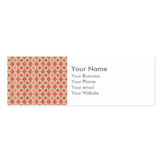Monogram Pink Red Geo Tribal Ikat Diamond Pattern Pack Of Skinny Business Cards
