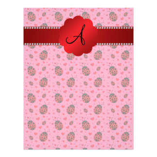 Monogram pink red ladybugs hearts pattern 21.5 cm x 28 cm flyer