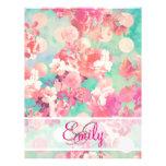 Monogram Pink Retro Floral Pattern Teal Polka Dots 21.5 Cm X 28 Cm Flyer