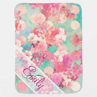 Monogram Pink Retro Floral Pattern Teal Polka Dots Pramblanket