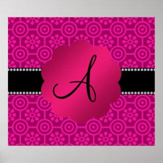 Monogram pink retro flowers and circles print
