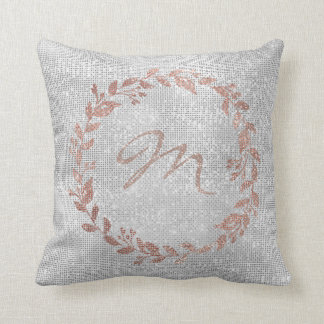 Monogram Pink Rose Gold Silver Wreath Sequin Cushion