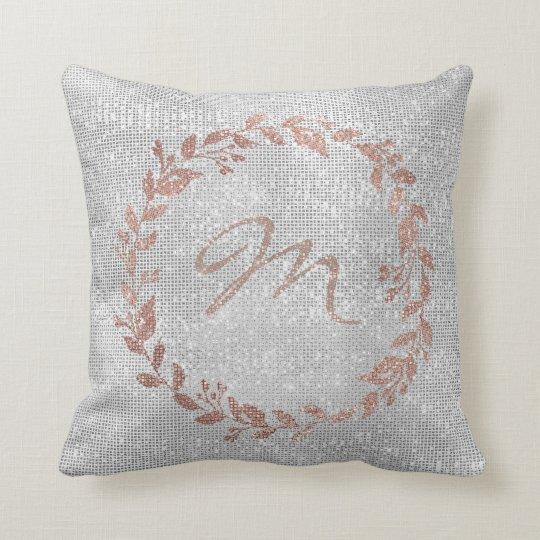 Monogram Pink Rose Gold Silver Wreath Sequin Throw