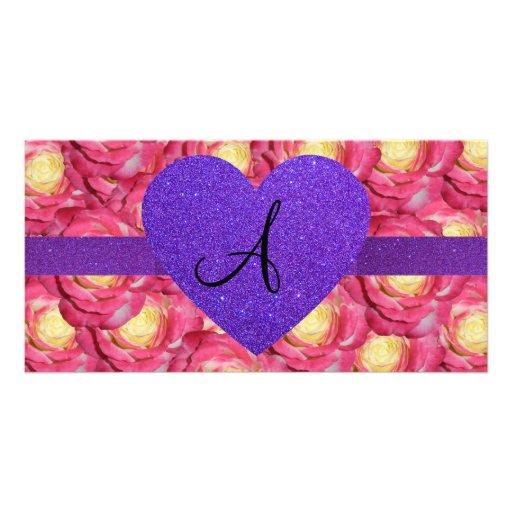 Monogram pink rose purple glitter heart photo card